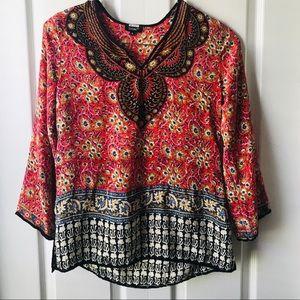 Tolani 100% Silk Long Sleeve Blouse
